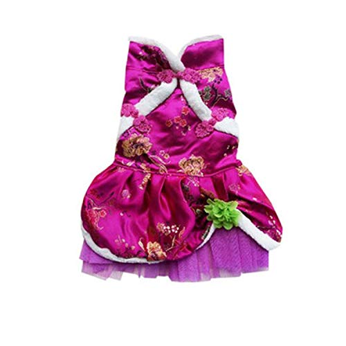 Dog Dress Clothes Chinese Cheongsam Style Christmas Winter Warm Floral Lace Sequins Skirt Tutu Dress Summer Small Dog pet Costume,Hot Pink,L,China -