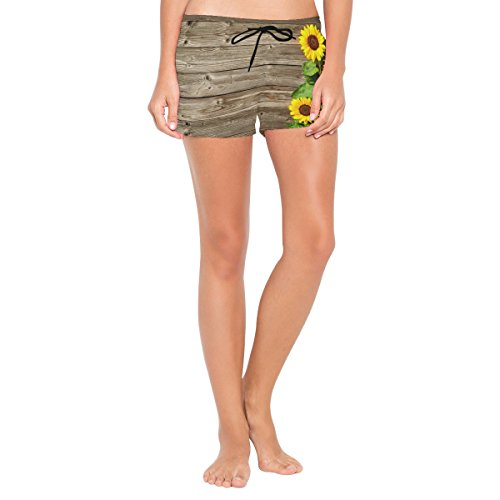 ALAZA Wooden Backgroud Sunflowers Women's Shorts Beach Summer Drawstring Casual Shorts -