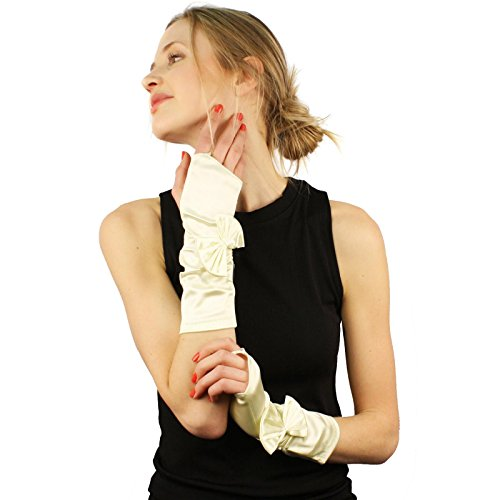 Ribbon Bow Satin Stretchy Fingerless Hook Evening Below Elbow Gloves Ivory