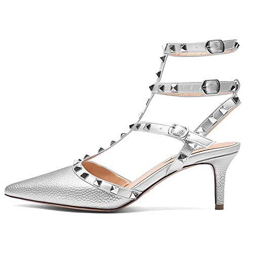 CHRIST Womens Patent Leather Buckle Studded Sandals T-Strap Kitten Pumps Dress Sandals Silver Pattern 7