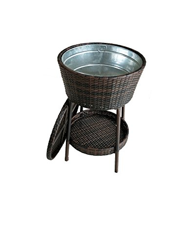 Outdoor Patio Rattan Party Cooler with Tin Plated Tub