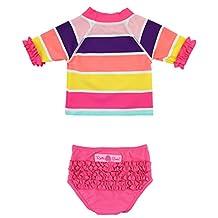 RuffleButts Infant / Toddler Girls Rainbow Stripe Crop Rash Guard Set w/ Ruffles