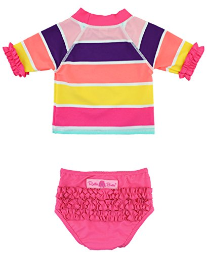 RuffleButts Infant / Toddler Girls Rainbow Stripe Crop Rash Guard Set w/ Ruffles - Multi - 12-18m