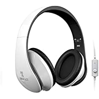 Bingoo I680 Folding Stereo Over-ear Headphones with Detachable Cable, Build-in Mic and for Most Smartphones, Laptops, Tablets, PC,Mp3/Mp4 (White)