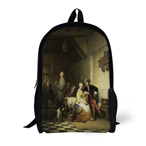 Jug Dutch (Pinbeam Backpack Travel Daypack Interior of Inn Figures in 17Th Century Costume Waterproof School Bag)