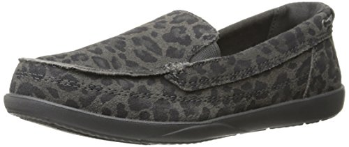 Croc Print Leather (crocs Women's Walu Leopard Print Leather LFR Boat Shoe, Light Grey/Graphite, 7 B(M) US)