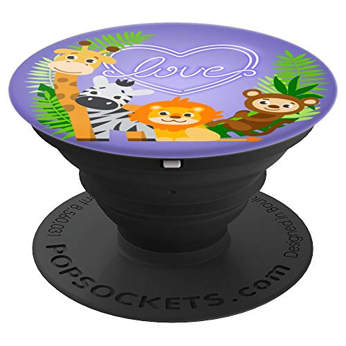 LOVE CUTE ZOO ANIMALS, GIRAFFE ZEBRA LION & MONKEY FOR YOUTH - PopSockets Grip and Stand for Phones and Tablets