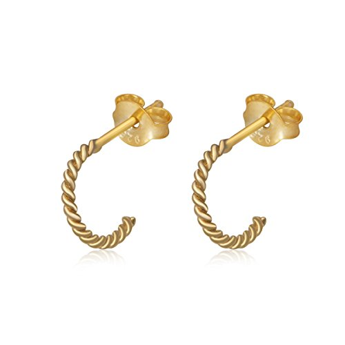 14K Yellow Gold Plated Sterling Twisted Design Small Half Hoop Stud Earrings Women Teens Girls (Design Twisted Yellow 14k)