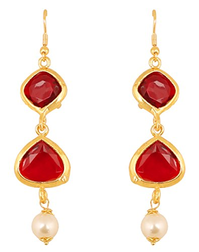 Touchstone Indian Bollywood Square And Heart Shape Red Faux Ruby Faux Pearls Exclusive Designer Jewelry Hanging Earrings In Gold Tone For - Brands Designer Exclusive