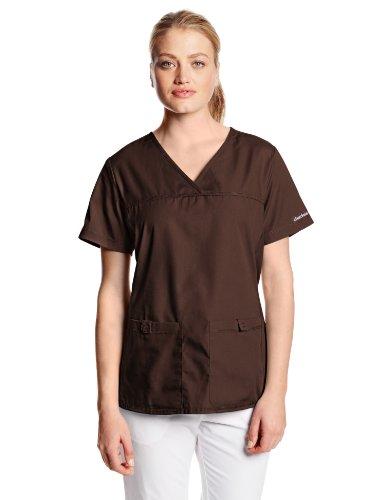- Cherokee Women's Scrubs Flexibles Sporty V-Neck Knit Panel Top, Chocolate, XXXXX-Large