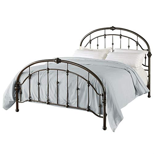 Swag Pads Queen Size Metal Bed in Antique Bronze Pewter Finish with Headboard and Footboard ()