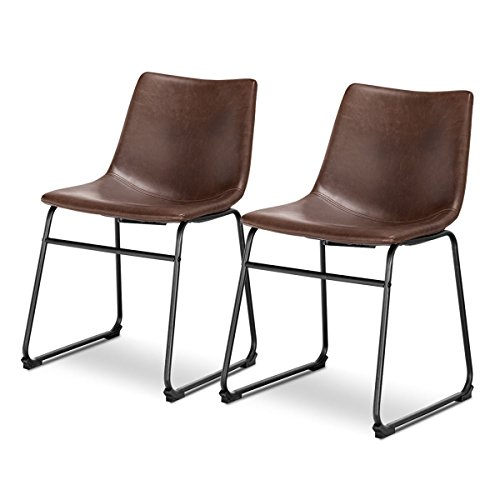Giantex 2Pcs Dining Chairs Barstools Accent Armless Chairs PU Leather Home Furniture Reception Chairs Guest Side Chairs w/Metal Sled Legs, Brown (Faux Reception Leather)