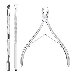 3 Pieces Cuticle Trimmer with Cuticle Pusher, ALIVING Cuticle Nipper Cutter Clipper Trimmer Stainless Steel, 1/2 Jaw Nail Gel Remover Manicure Tools for Fingernail and Toenail