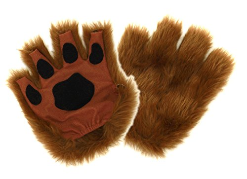 Brown Dog Cat Bear Fingerless Costume Paws for Adults by -
