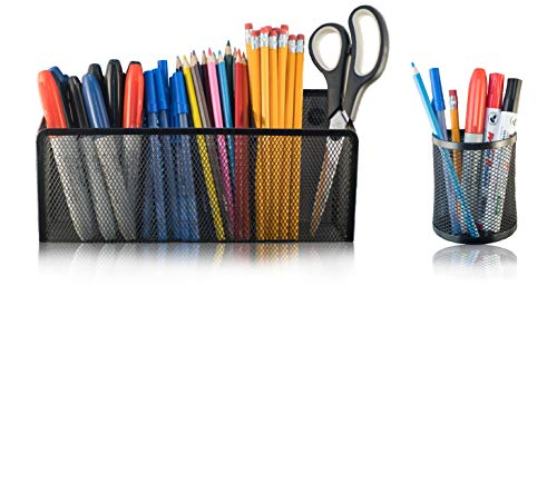 Magnetic Pencil Marker Holder with 3 Slots & Bonus 1 Slot Holder - Basket Organizers with Super Strenght Magnets - Handy Mesh Pen Holders to Hold Whiteboard and Locker Items & Accessories