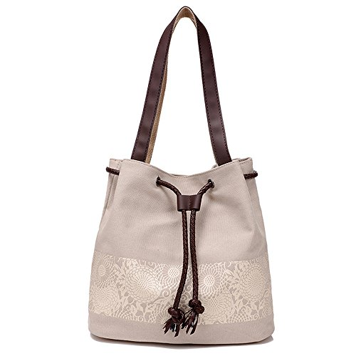 Hiigoo Printing Canvas Shoulder Bag Retro Casual Handbags Messenger Bags (Beige)