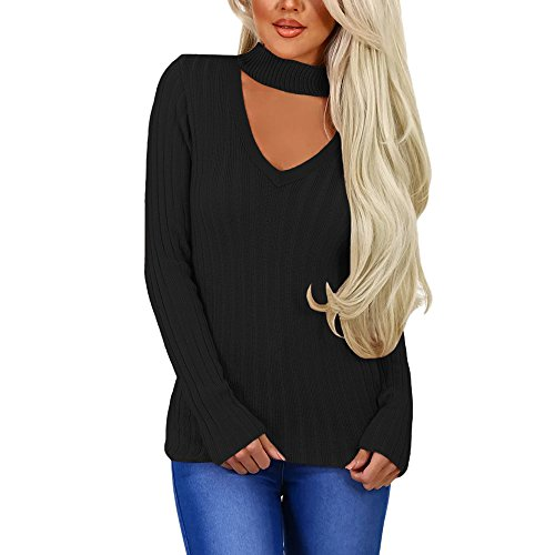 MuCoo Women's Winter Fall Long Sleeve Rib Knit Sweater Pullover Choker Top Black M