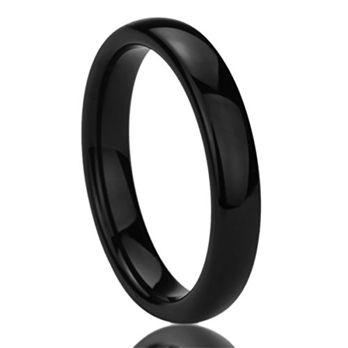 4MM Stainless Steel Wedding Band Ring Black High Polished Classy Domed Ring (5 to 11) - Size: 8
