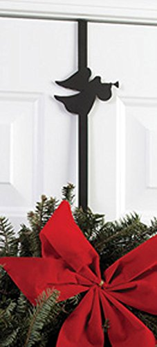 Iron Angel Christmas Holiday Wreath Hanger - 13'' Winter Holiday Door Hook by IronWorks