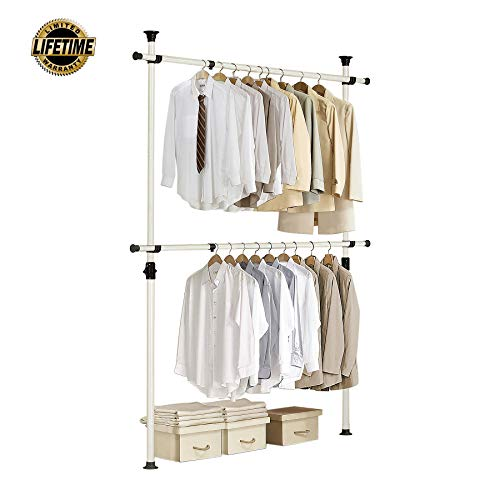 Prince Hanger, 1-Touch Double Adjustable Hanger PHUS-0023, Holds 176lb per Bar, Heavy Duty 38mm Poles, Ivory (Wall Systems Closet)