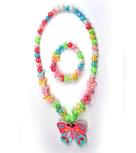 Mondada Kids Toddlers Little Girls Necklace Bracelet Set Stretch Butterfly Necklaces Party Favor Costume Jewelry (Butterfly)