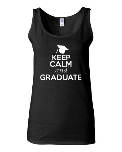 Junior Keep Calm And Graduate Graphic Humor Novelty Tank Top (Small, Black) (Cute Toga Ideas)