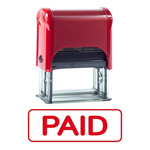 PAID Border w Radius Corners Self Inking Rubber Stamp (Red Ink) (Radius Border)