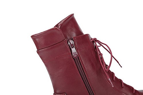 Women's Low AgooLar Heels Round Lace Claret Toe up Solid Boots PU HwZ4Zqd