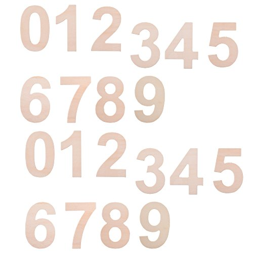 BCP Set of 20 Wood Craft Plywood Wooden Number 0 to 9, 2-7/8inches. by BCP