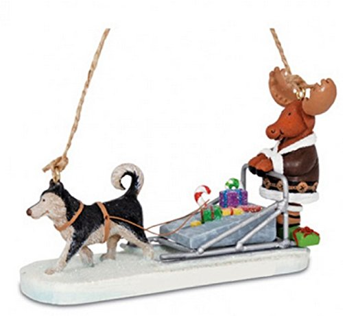 Cape Shore Moose Driving a Dog Sled Carrying Presents Ornament