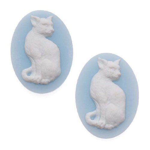 (Beadaholique Vintage Style Lucite Oval Cameo Blue with White Cat 25 x 18mm (2))