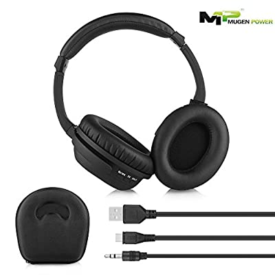 Mugen Power Wireless & Wired Bluetooth Headphones with Active Noise Cancelling, enhanced Bass, Inline Microphone. Up to 8 hours