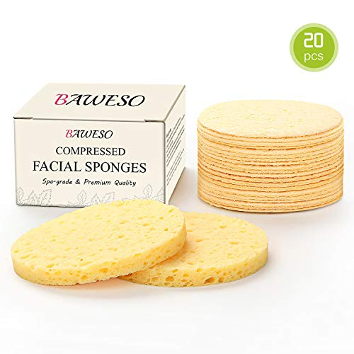 Facial Sponges - BAWESO 100% Natural Compressed Cellulose Face Scrub Puff, Reusable Organic Odorless Deep Cleansing and Soft Exfoliating Pads, Bigger Size (2.99