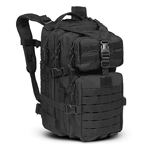 LeisonTac Tactical Backpack: Military Assault Pack | Extreme Water Resistant Small Rucksack | Hydration Bladder Compartment | Army Backpack for Hunting Hiking & Travel (Black)