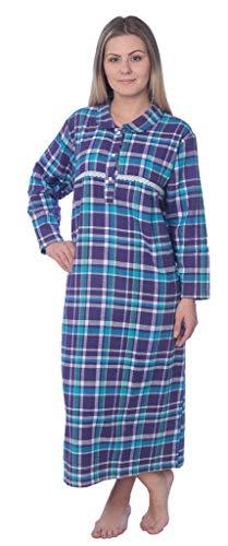 (Beverly Rock L# Women's Full Length Brushed Cotton Flannel Plaid Nightgown WF02_Y19 Purple/Aqua)