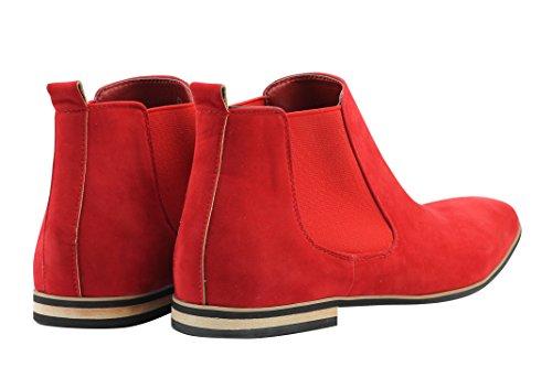 Xposed–Botas de ante Chelsea italiano estilo elegante y Casual Retro desierto concesionario Mid Tobillo Zapatos Red