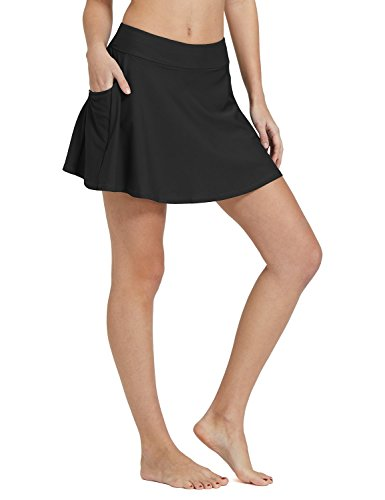 BALEAF Women's High Waisted Swim Skirt Bikini Tankini Bottom with Side Pocket Black Size L