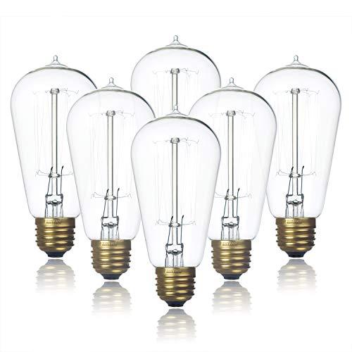 6-Pack Edison Light Bulb, Clear Glass Warm Light, Jslinter 60 Watt Dimmable ST58 Antique Vintage Style Light, e26 Base(60w/110v) (Light Bulbs Clear)