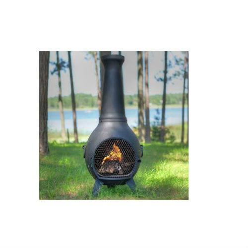 Blue Rooster Prairie Style Wood Burning Outdoor Metal Chiminea Fireplace Charcoal (Prairie Wood Fireplace Screen)