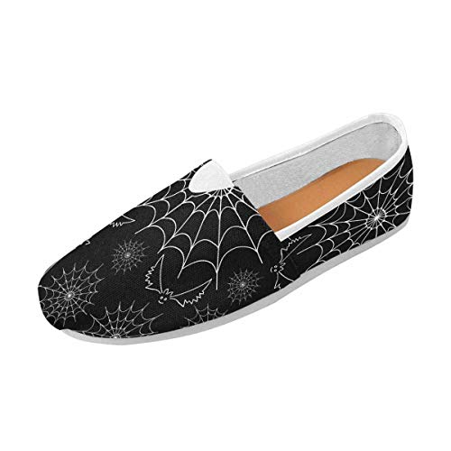 INTERESTPRINT Halloween Pattern with Web and Funny Flying Bats Women's Casual Slip On Loafers Office ()