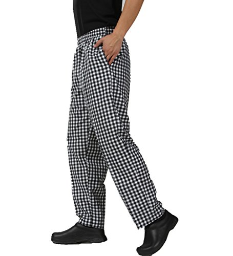 JXH Chef Uniforms Men's Black and White Checkered Chef Pants with Elastic Waist (Chef Ultimate Pants)