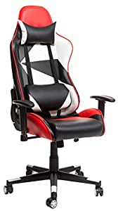 Merax High Back Computer Desk Chair Adjustable Home Office Swivel Chair (Black/Red/White)