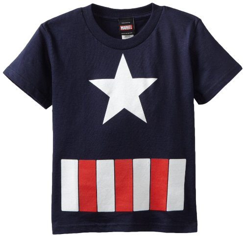 Captain America Little Boys' The Great Star Juvy T-Shirt, Navy, Medium(5/6) (America Clothes Kids compare prices)