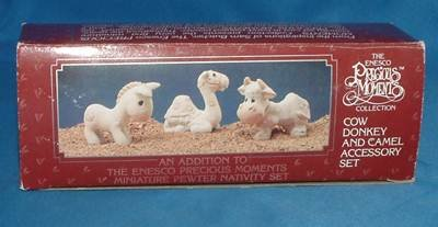 Precious Moments Miniature Pewter Nativity Set (Cow, Donkey, Camel)