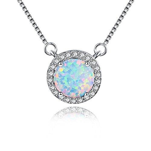 Australian Opal Pendant - MASOP Australian 8mm Opal Choker Necklace for Women Girls Halo Cubic Zirconia Round Gemstone Pendant 14