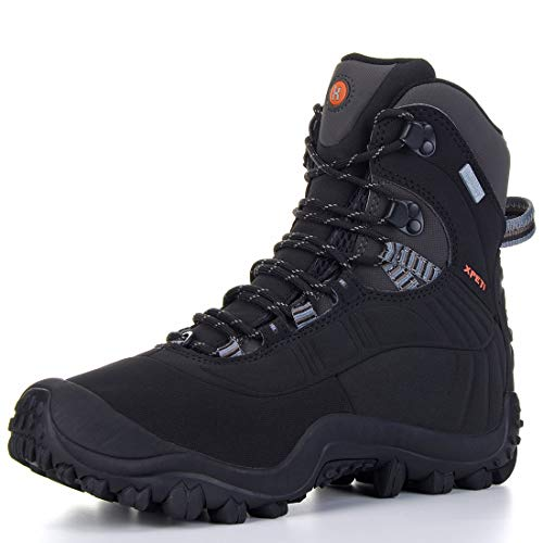 XPETI Men's Thermator Mid-Rise Waterproof Hiking Trekking Insulated Casual Work Outdoor Boots Black 10 (Boots Insulated Work Winter)
