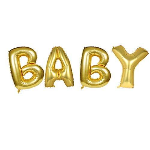 Baby Balloons, Lovne 16 Inch Letter Balloon Gold Baby Alphabet Balloon for Wedding Birthday Party