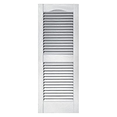 Builders Edge 010140060001 Pair Of 15 X 60-Inch White Louvered Shutters Shutters, Exterior