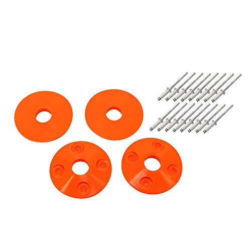 (Dominator Racing Products 1202-FLO-OR Fluorescent Orange Hood Pin Scuff Plates 4pc)
