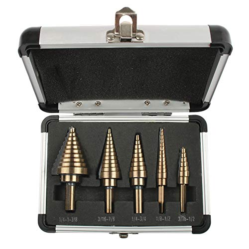 MEMORY Step Drill Bit Set, HSS Cobalt Multiple Hole SAE Step Drills,Woodworking Hole Opener Set with Triangle Handle 1/4-1-3/8 3/16-7/8 1/4-3/4 1/8-1/2 3/16-1/2(5Pcs)